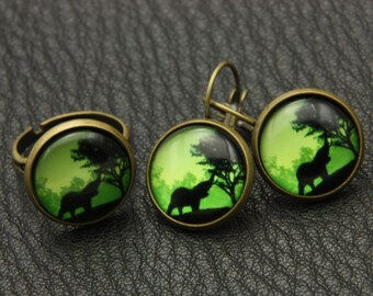 SET earrings and ring African elephant