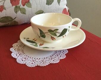 Vintage Universal Potteries Ballerina-Red Turks Cap Flower Cup & Saucer Set