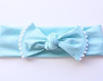 Pom Pom Bow Headband - Valentines Headband - Newborn to Adult - Photo Prop Headband