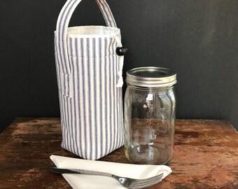 Mason Jar Salad Set, blue ticking quart size jar carrier bag with napkin, shopping tote, cozy