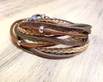 Tribal boho leather wrap bracelet in earth tones Stacked leather look 3X wrap