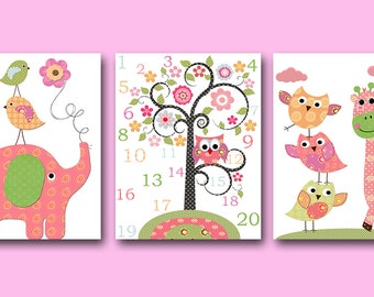 Pink Yellow Green Sticker Elephant Giraffe Canvas Print Wall Decal Baby Girl Nursery Numbers Wall Art Baby Nursery Kids Room Decor set of 3