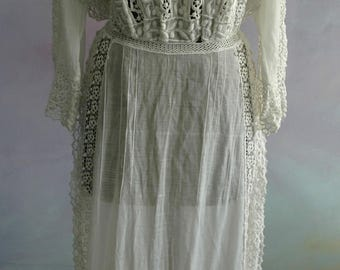 Vintage Edwardian Long Dress - Museum Quality with Incredible Lace Insets and Detail