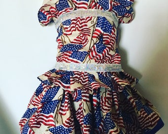 July 4th, patriotic wear, rwb,OTT, Pageant, OOC, Boutique Style size Pant Set NB 3  6 9 12 24 months, size 2 3 4 5T
