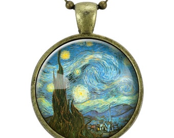 The Starry Night Necklace, Vincent van Gogh Pendant, Bronze (0422B25MMBC)