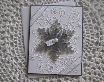 Handmade Greeting Card: Silver Snowflake/Winter/Christmas Theme