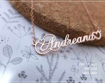 20% OFF / Font 3 with hearts /Personalized Name Necklace -Sterling Silver-Brass-Gold-Rose graduation- bridesmaid- Christmas- Valentine gift.