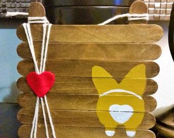 Corgi Love - Hand-painted Wood w/ Heart and Corgi Butt Sign