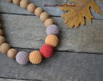 Breastfeeding necklace,Teething necklace, Nursing necklace, For new mom baby,Safe ecofriendly, Crochet necklace Orange
