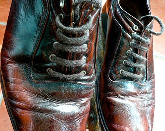 Leather Shoes - Vintage Brown Shoes - Movie Prop - Shoe Store Decor - Lace Up - Theatre Costume - Well Used - Prop - WWII Shoes - Antique