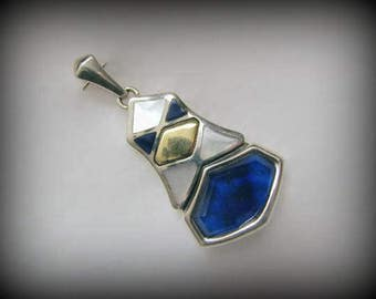 Vintage ASCH GROSSBARDT Pendant -- Sterling and Pure 18k Yellow Gold, Inlay of Lapis Lazuli and Mother of Pearl, 11.9g