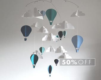 SALE - Blue and Teal Hot Air Balloon Baby Mobile