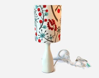 St Judes fabric  Angie Lewin designed fabric shade and  small white ceramic lamp