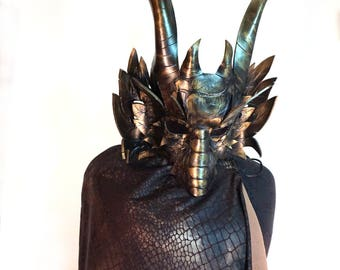 Deluxe Dragon Costume! Leather Dragon mask, Reversible Cape and Leather Bracers! FREE SHIPPING in US*!  Masquerade, Renaissance Fair