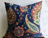 Reserved Listing for Sarah* Navy Blue Pillow Cover-  Distressed Vintage Looking Print, 18x18 Colorful Paisley Decorative Pillow Cover