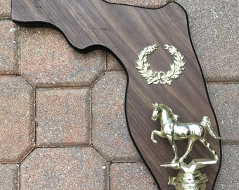 Vintage State of Florida Horse Trophy Rodeo Theme Man Cave Wall Hanging
