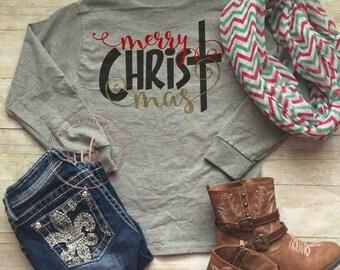 Monogrammed- Merry CHRISTmas Shirt-  Womens Christmas Shirt- Christmas Party Shirt- Holiday Shirts-Tops and Tees-Christmas-Hoilday Shirt