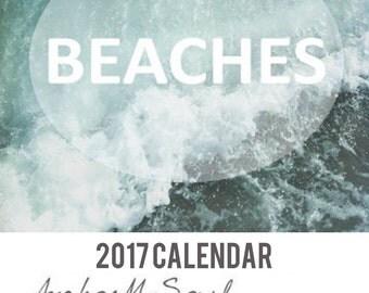 2017 Calendar - Beaches Photography - Ocean Sea Coast Nautical Shells Sand Waves - New Year Desk / Wall / Office Accessory Decor