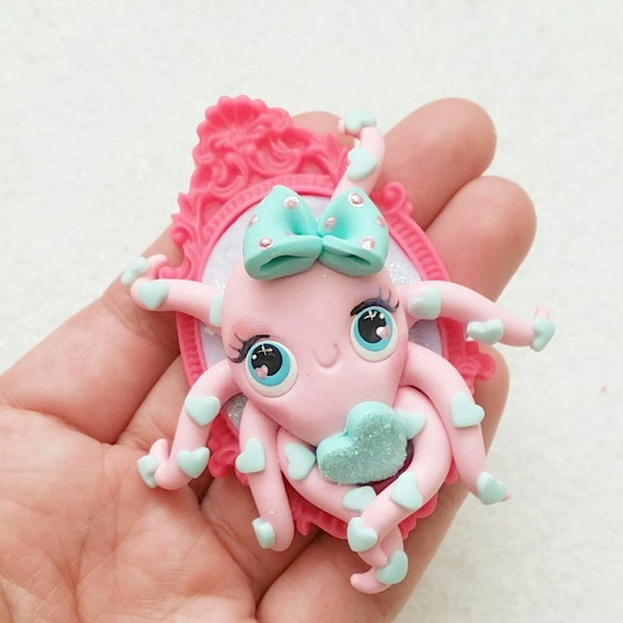 Kawaii Heart Octopus, Necklace, Polymer Clay Charm, Polymer Clay Pendant, Halloween, polymer clay, clay pendant, Kawaii, Chibi, Clay Charm