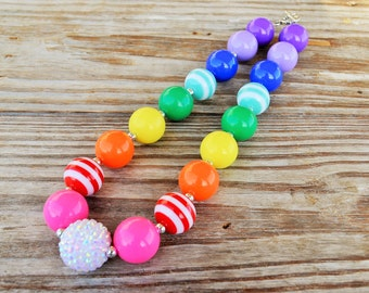 Colorful Rainbow Girls Chunky Necklace- Birthday Chunky Necklace- Girls Bubble Gum Necklace- Cake Smash