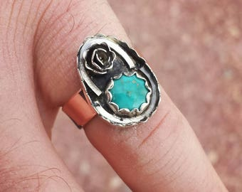 Turquoise Ring size 7 Sterling Silver and Copper