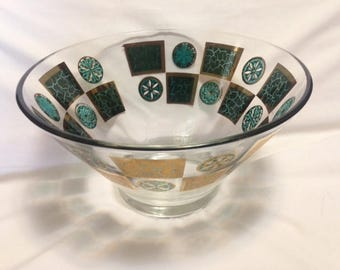 Midcentury Turquoise and Gold Glass Chip Bowl