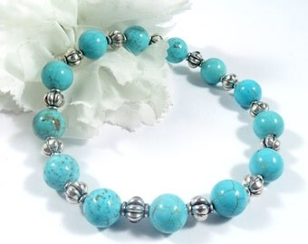 Turquoise Blue Bracelet w Silver Accents, Beaded Howlite Bracelet, Fashion Bracelet Womens Jewelry, Howlite Stone Stacking Bohemian Bracelet