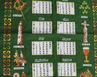 1985 calendar Ireland Irish Linen Irish Dancers Tara Brooch Leprechauns Guinness Spinning Wheel Irish Cabin Celtic Irish Harp Tea Towel