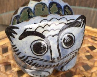 Ken Edwards signed Tonala Mexico ceramic cat figurine, mid century pottery