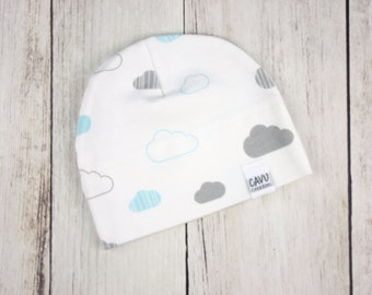 Organic Baby Hat in Aqua, Gray, and White Cloud Print - Organic Cotton Baby Beanie - Designer Cotton Fabric with Clouds - READY TO SHIP!