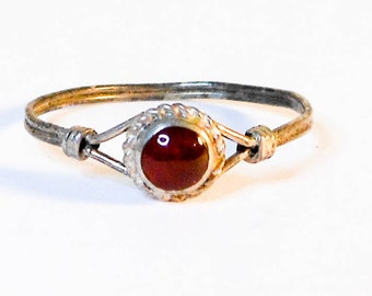 Sterling Round Red Garnet Ring ,   Size 7   Skinny Ring     Stack