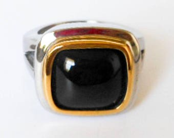 Vintage Mens Black Onyx Gold & Silver Toned Ring    Size 10