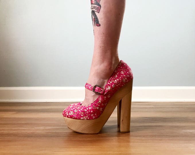 70s Style Pink Floral Wooden Platforms