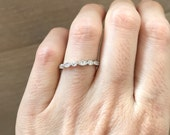 Art Deco Wedding Band- Bridal Engagement Band- Cubic Zirconia Band- Sterling Silver Stackable Band- Half Eternity Band