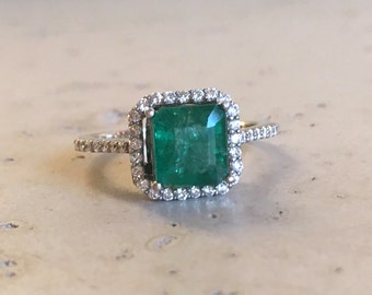 Emerald Cushion Cut Engagement Ring- Rose Gold Emerald Engagement Ring-Halo Emerald with Diamond Promise Ring-Solitaire Genuine Emerald Ring