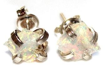 Silver Opal Earrings Raw Opal Stud Earrings Organic Earring Tumbled Opal Jewelry Natural Opal Welo Opal Prong Set Earrings Raw Gemstones
