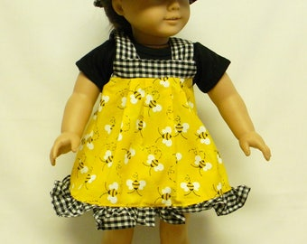 Yellow Bumble Bee Jumper for 18 inch doll like the American Girl.