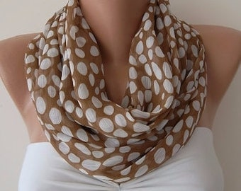 Christmas Gift Holiday Gift Scarf, Chiffon loop scarf polka dot scarfs fashion accessories gift for her