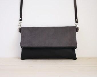 Grey and black bag, grey pouch, grey handbag, grey crossbody bag, grey foldover bag, grey clutch bag, grey bag  - Stone