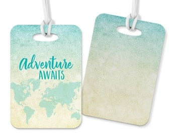 Adventure Awaits Metal Double Sided Luggage Tag