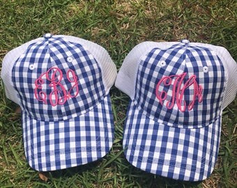 Gingham Trucker Baseball Hat, Trucker Hat, Monogrammed Hat, Baseball Hat, Hat, Ball Cap, Beach Hat