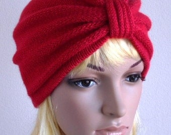 Knitted red turban hat, handmade turban, women's fashion turban, winter hat for women, retro style turban, knitted from wool & acrylic blend