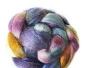 Superfine Merino Wool And Mulberry Silk 50/50 Blend Brick Form Destash Hand Dyed Spinning Felting Fiber 80 gm 2,8 oz