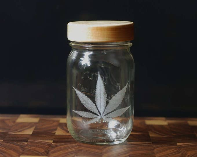 Stash Jar - One Pint - Beautifully Engraved - Custom Sealed Maple Lid