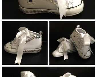 FREE SHIPPING - White Bling Infant Converse
