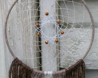 Boho Dreamcatcher, brown and white with yarn falls, wallhanging homedecor