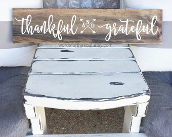 THANKFUL and GRATEFUL wood Sign - thankful - Rustic Sign  - Autumn Wood Sign - Wooden Sign - Farmhouse Decor - Thankful Sign - thanksgiving