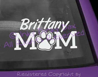 Brittany Mom Pawprint Decal