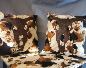 Western Cowhide Decorative Pillows w/ inserts
