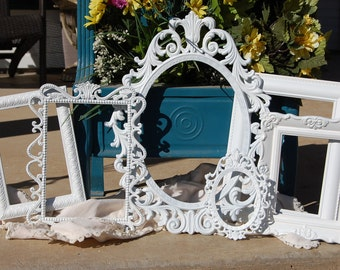 Shabby Chic Picture Frame Set  - Ornate Vintage Frame Collection - Set Of  Picture Frames